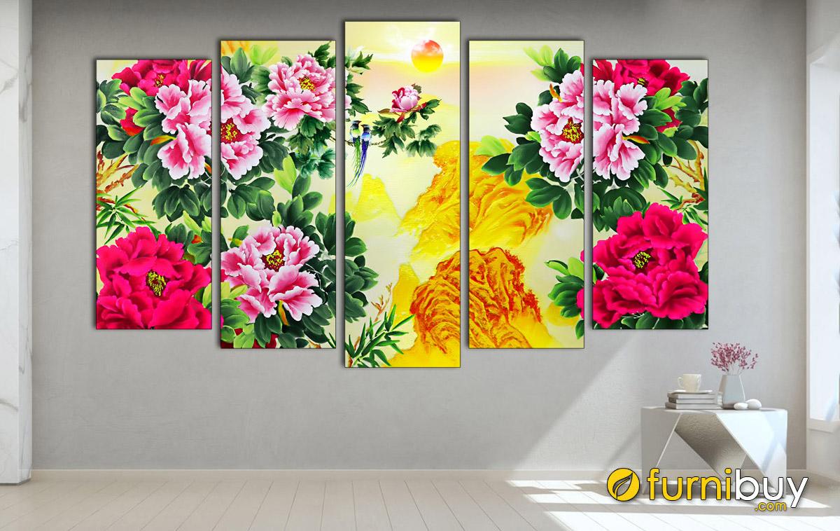 Hình ảnh Tranh treo tường hoa mẫu đơn màu đỏ đẹp