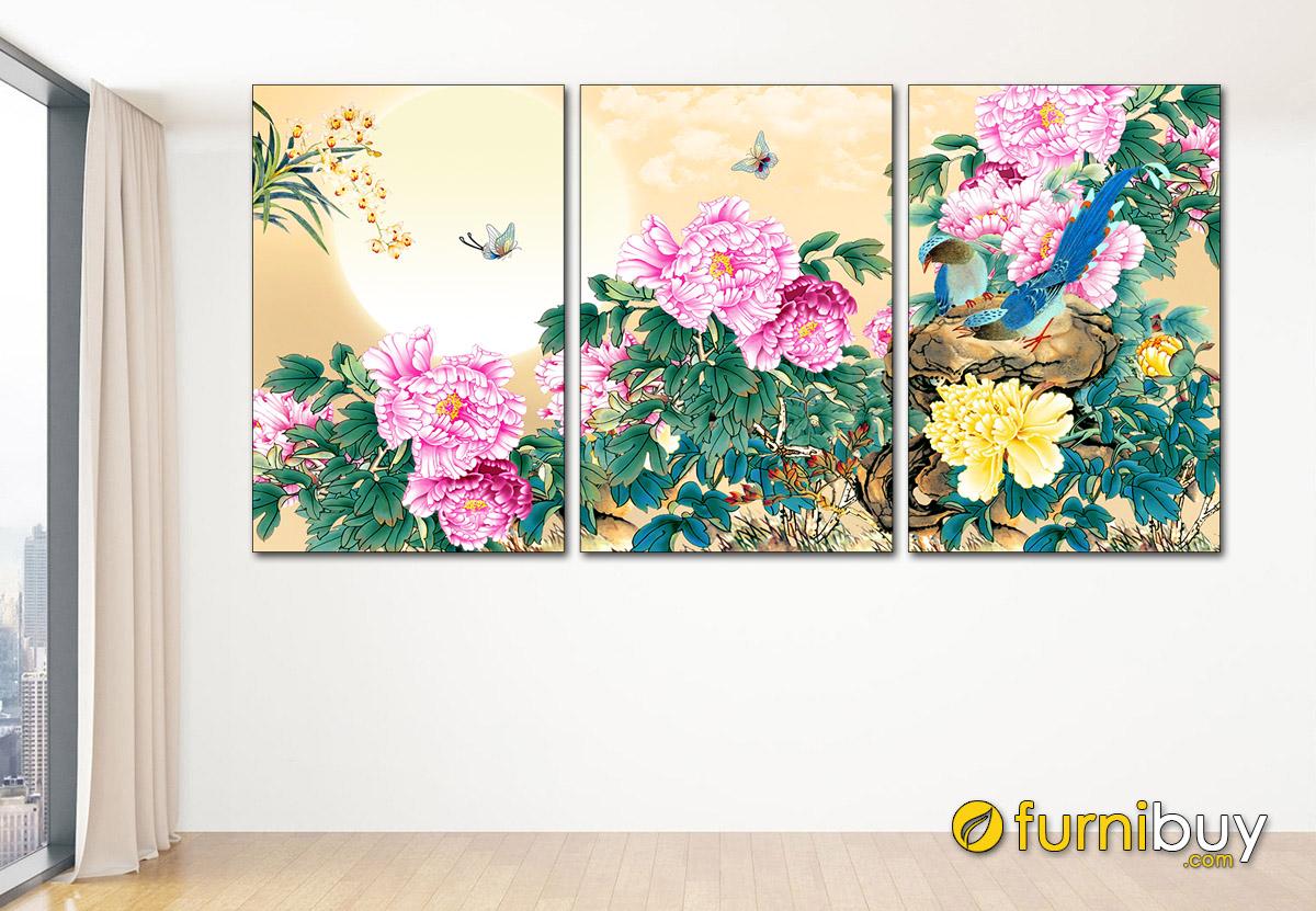 Hình ảnh Tranh treo tường hoa mẫu đơn tình duyên đẹp và ý nghĩa