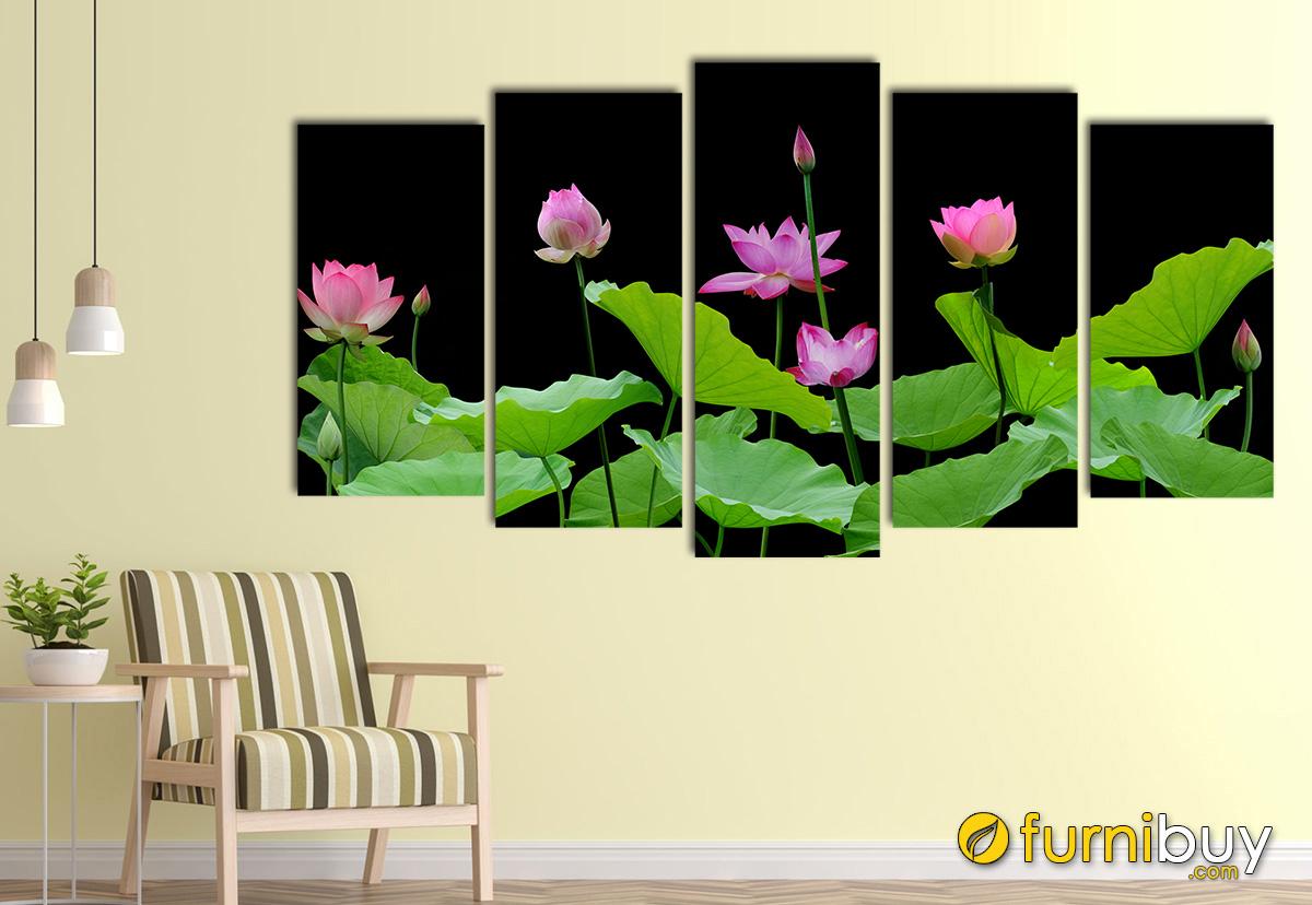 Hình ảnh Tranh treo tường hoa sen ghép bộ 5 tấm ý nghĩa phong thủy
