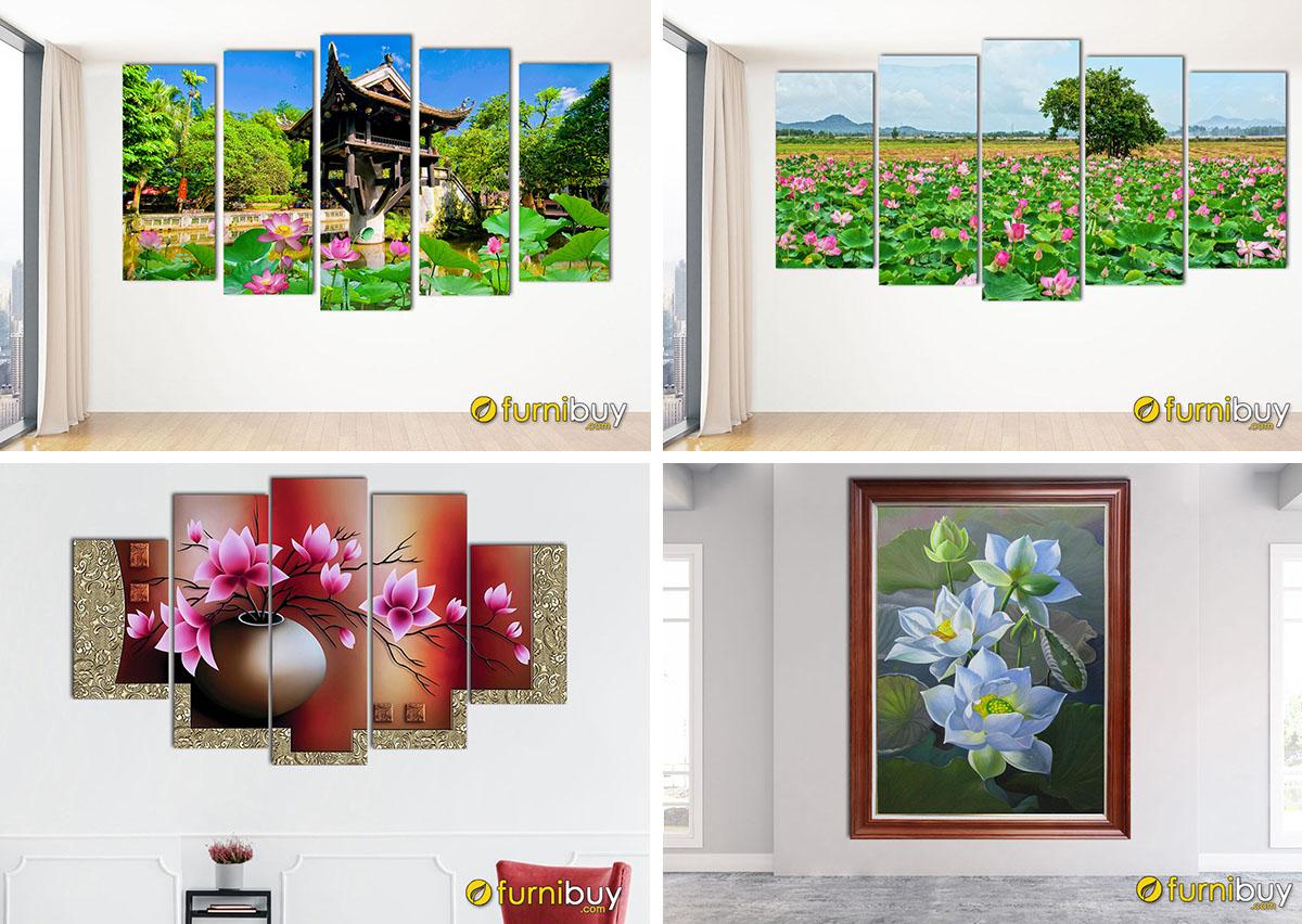 Hình ảnh Tranh hoa sen treo tường giá dưới 2 triệu vừa đẹp vừa ý nghĩa