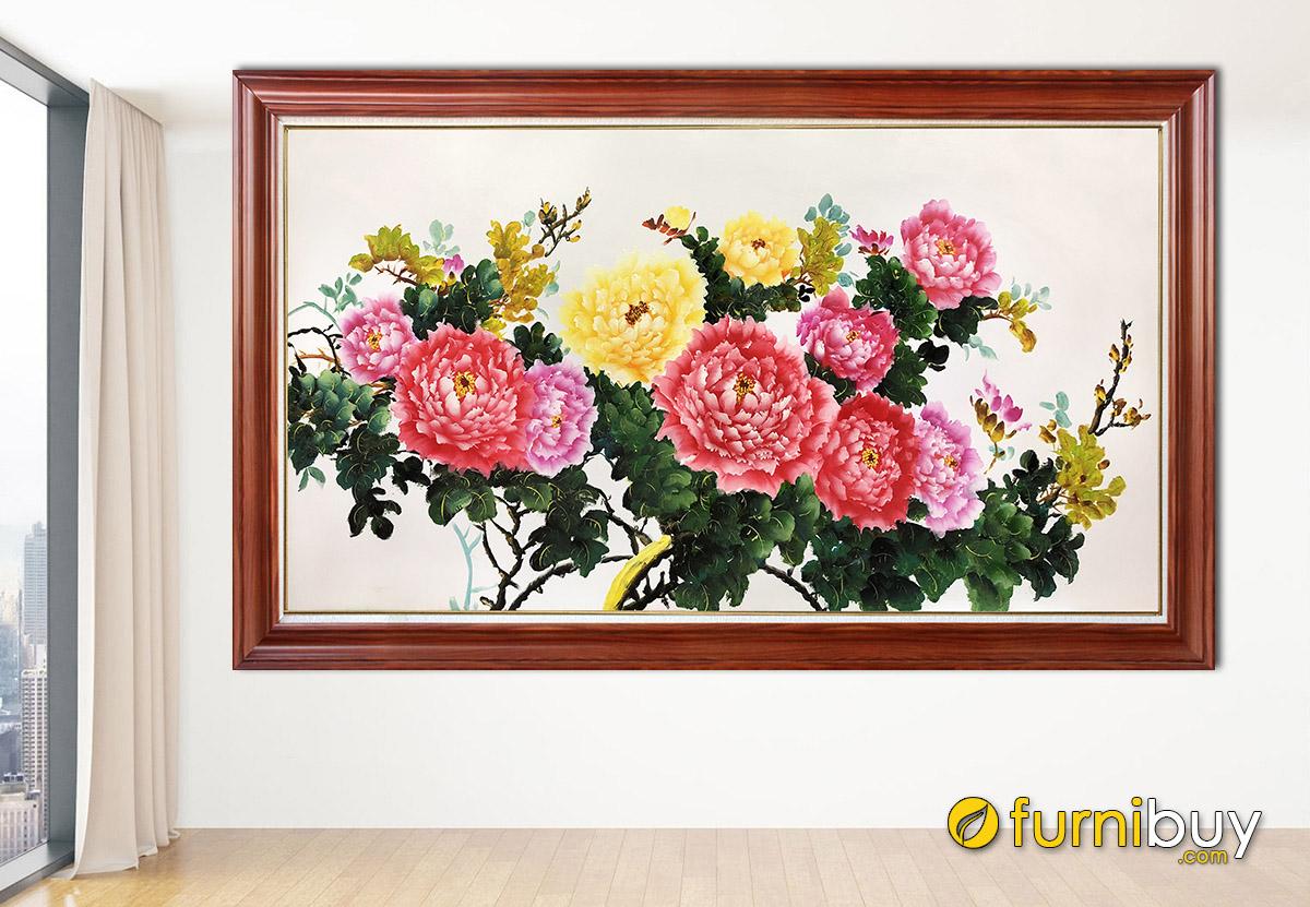 Hình ảnh Tranh treo tường mẫu đơn vẽ sơn dầu đẹp ý nghĩa