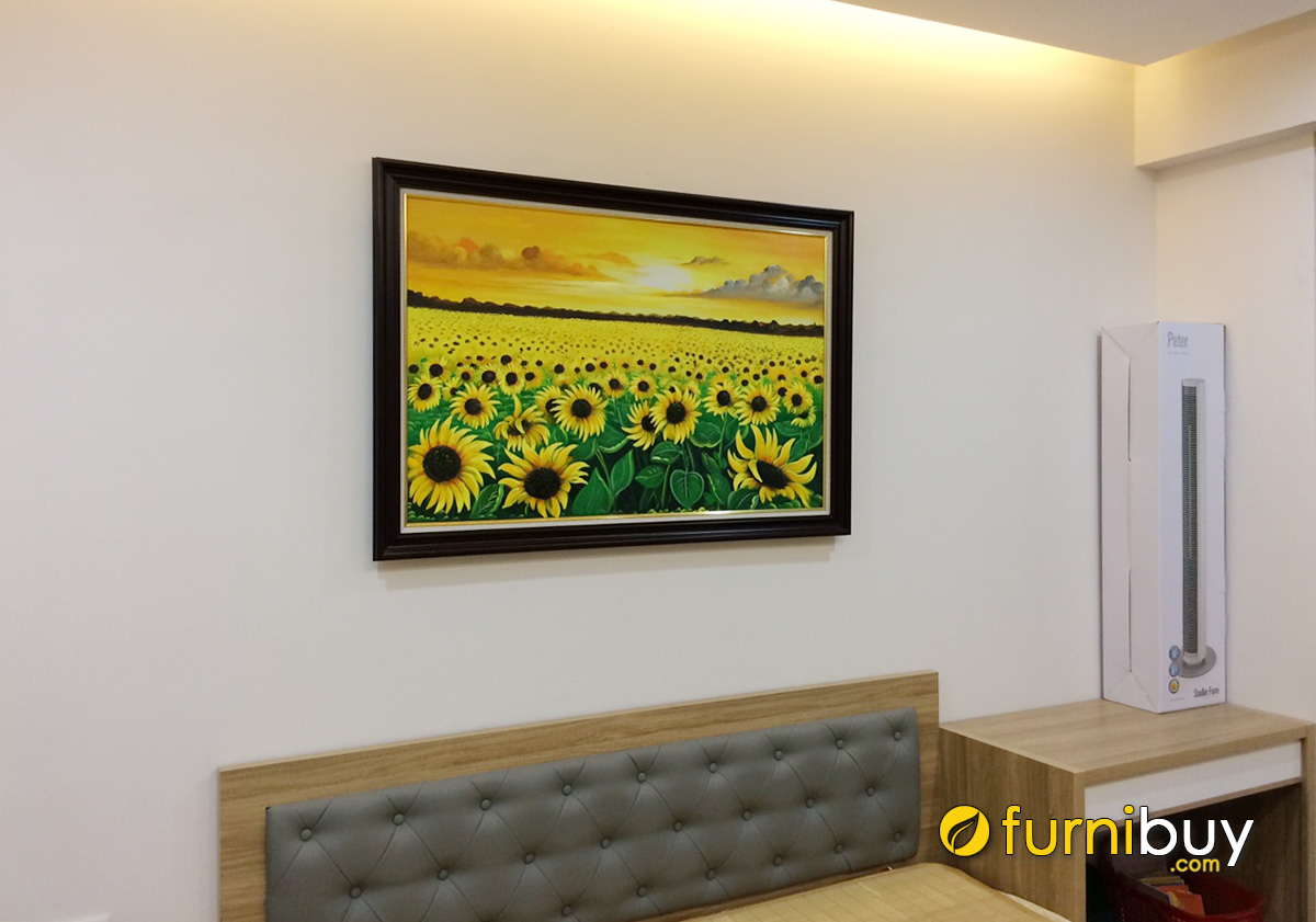 Hình ảnh Tranh treo tường phòng ngủ hoa hướng dương đẹp