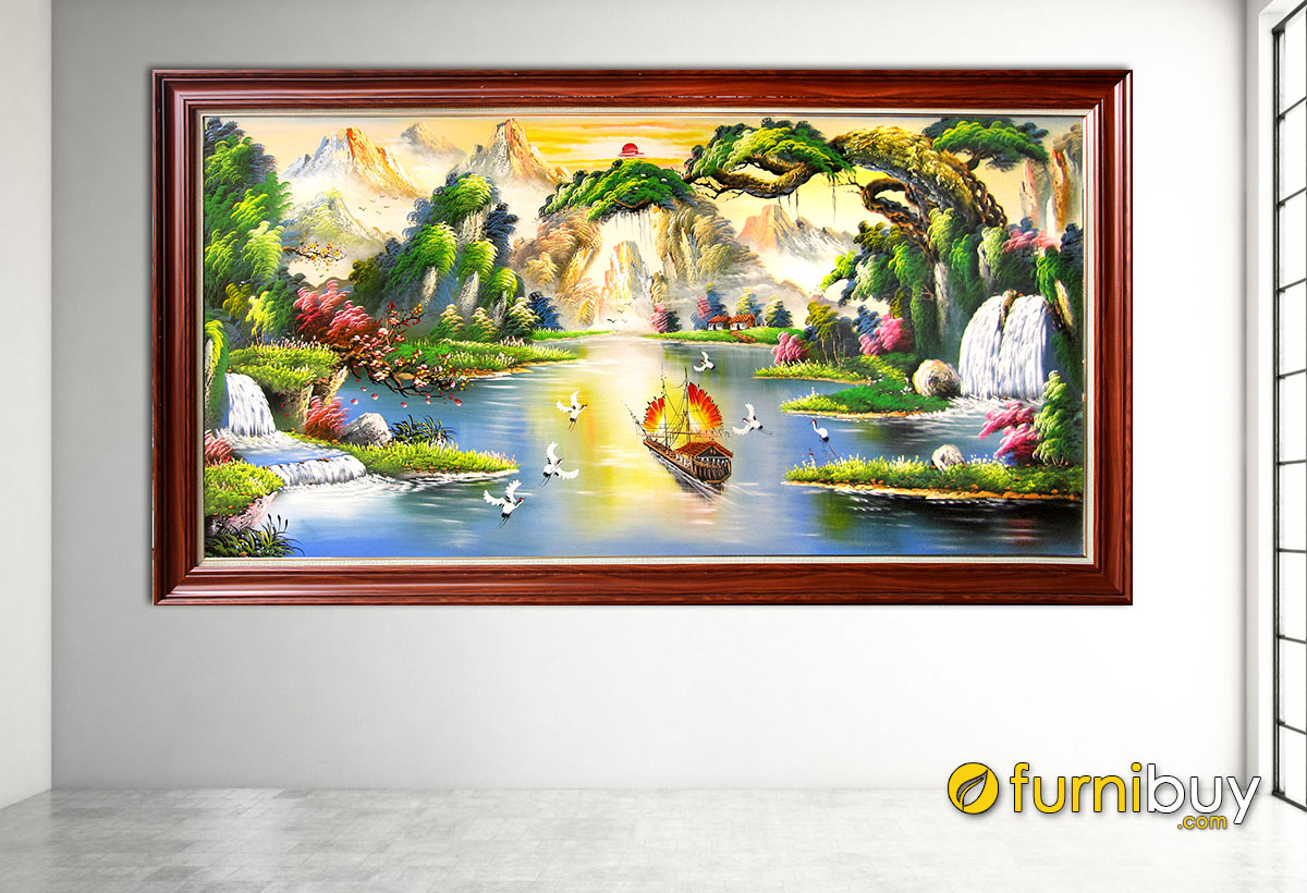 Hình ảnh Tranh treo tường sơn dầu sơn thủy hữu tình đẹp