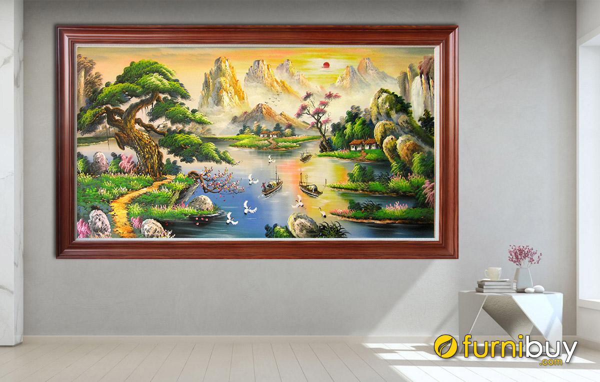 Hình ảnh Tranh treo tường sơn thủy hữu tình vẽ sơn dầu
