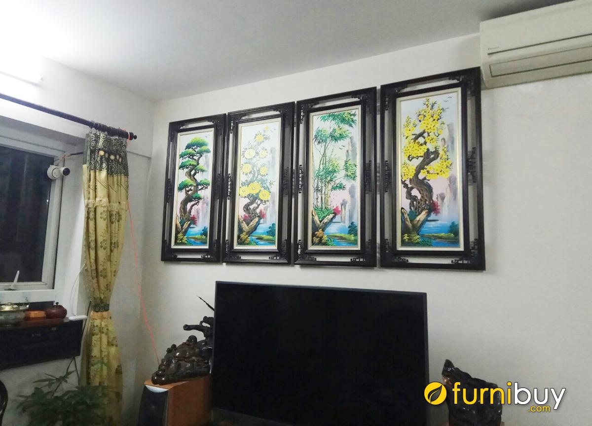 Hình ảnh Tranh tứ quý treo tường phòng khách đẹp ý nghĩa