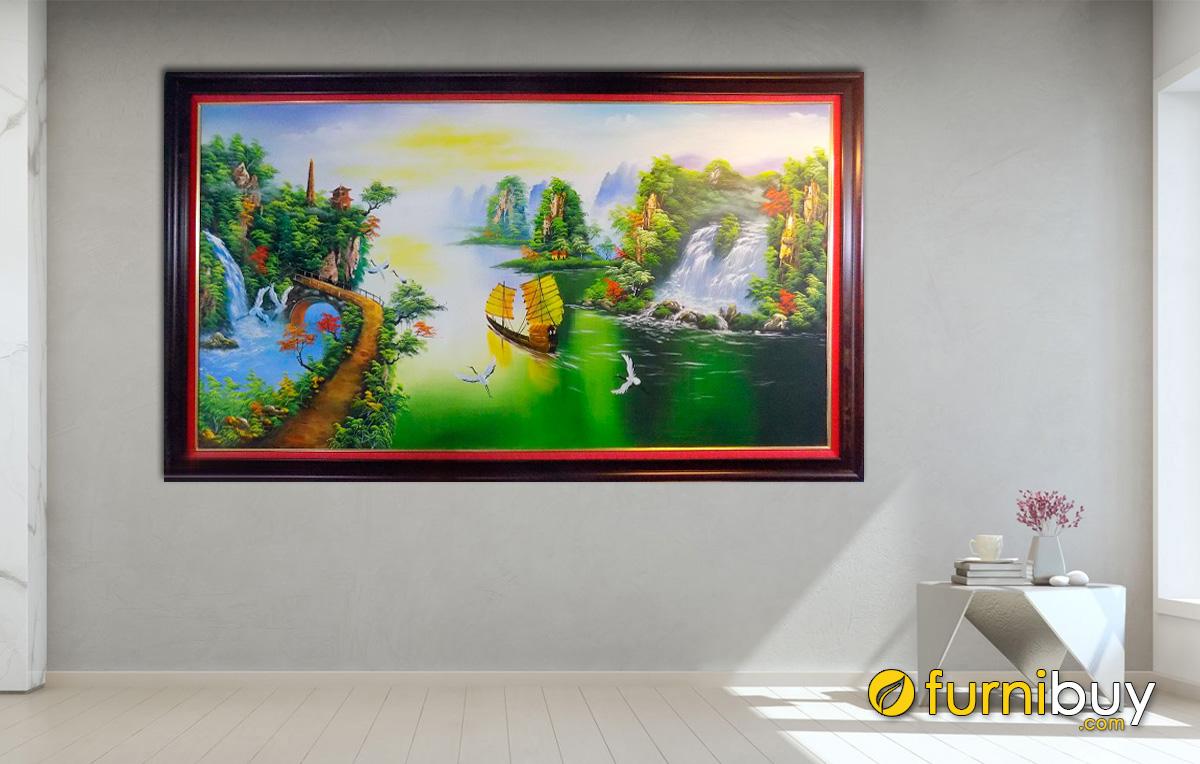 Hình ảnh Tranh vẽ sơn dầu sơn thủy hữu tình 1 tấm đẹp