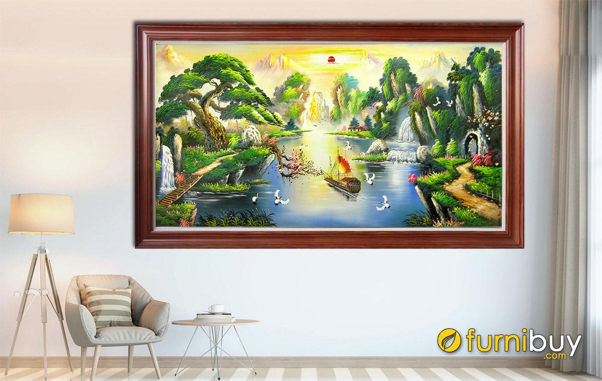 Hình ảnh Tranh vẽ sơn dầu sơn thủy hữu tình đẹp ý nghĩa
