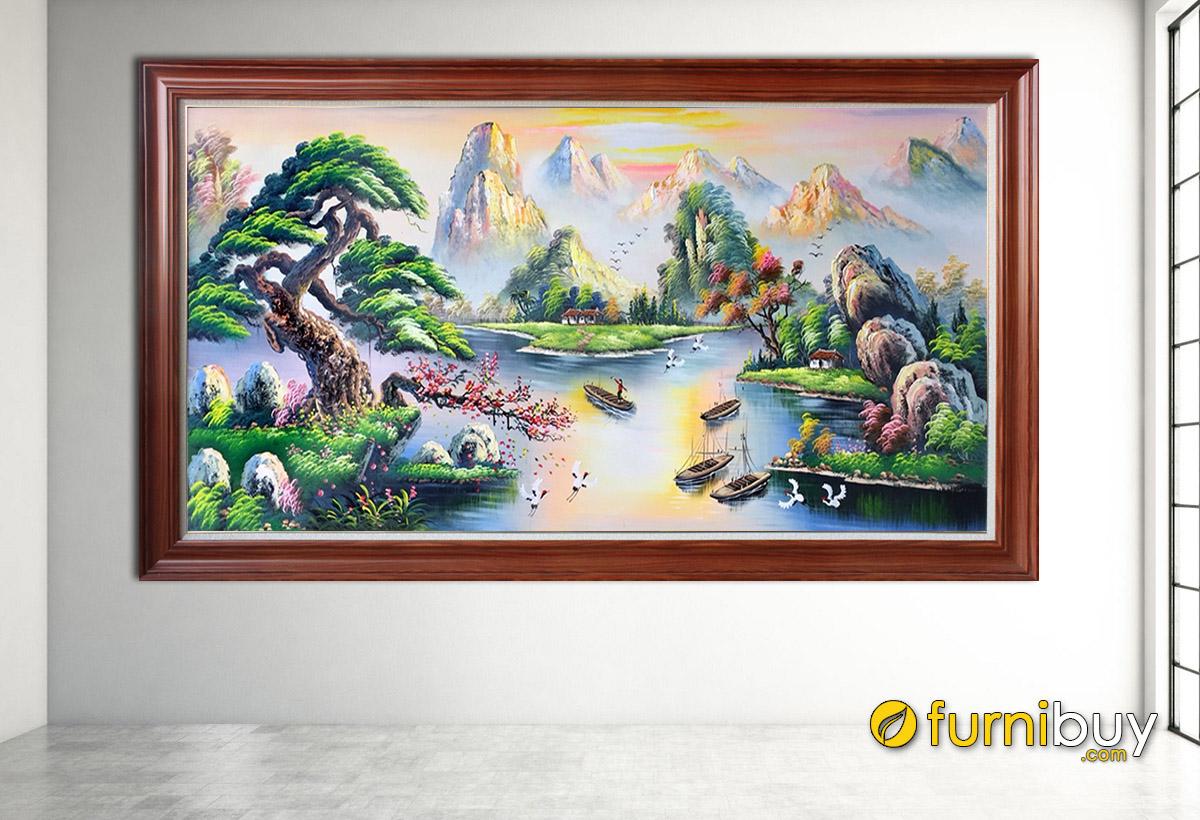 Hình ảnh Tranh vẽ sơn thủy hữu tình thiết kế 1 tấm treo tường