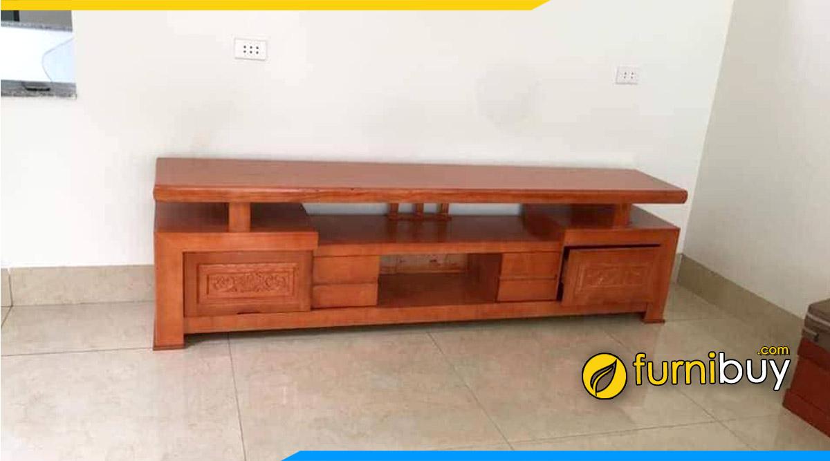 Hình ảnh Tủ tivi gỗ sồi Đỏ nguyên tấm kích thước 2m2