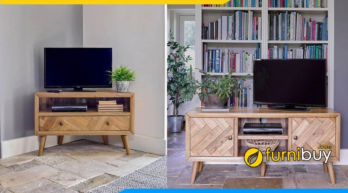 Hình ảnh Tủ tivi gỗ sồi kích thước nhỏ gọn cho phòng ngủ 1m2