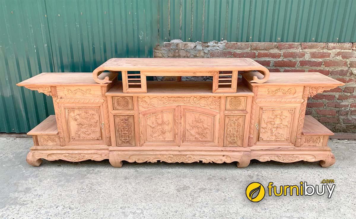 Hình ảnh Mẫu tủ tivi gỗ tự nhiên Đồng Kỵ Bắc Ninh trạm khắc hoa văn đẹp