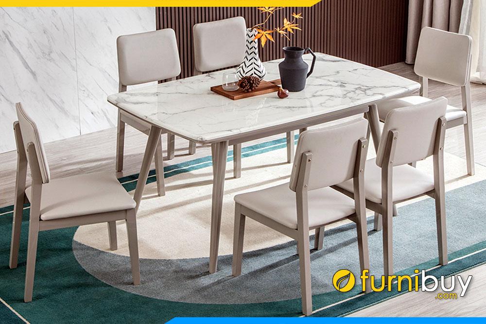 Xu hướng bàn ăn 6 ghế mặt đá vân mây đẹp