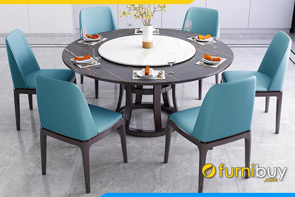 Hình ảnh Chọn bàn ăn 6 ghế nệm da sang trọng