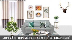 Ghế sofa da văng đơn màu ghi xám cho phòng khách nhỏ, đẹp fb 171001