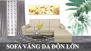 Ghế sofa văng da kèm đôn lớn lắp đặt căn hộ chung cư fb 221001