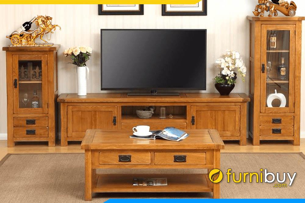 Ảnh mẫu kệ tivi và tủ rượu gỗ sồi đẹp sang trọng nhất