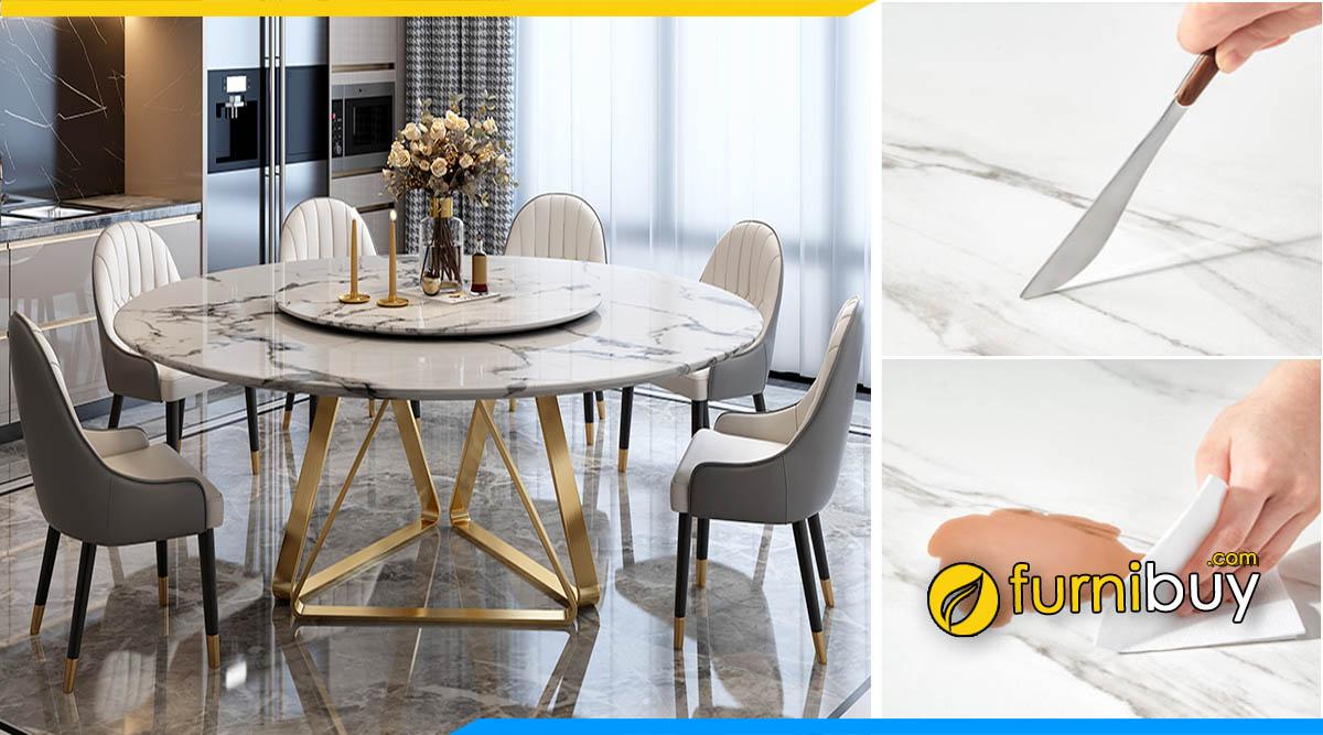 Hình ảnh bàn ăn 6 ghế mặt đá tròn mâm xoay cao cấp, sang trọng