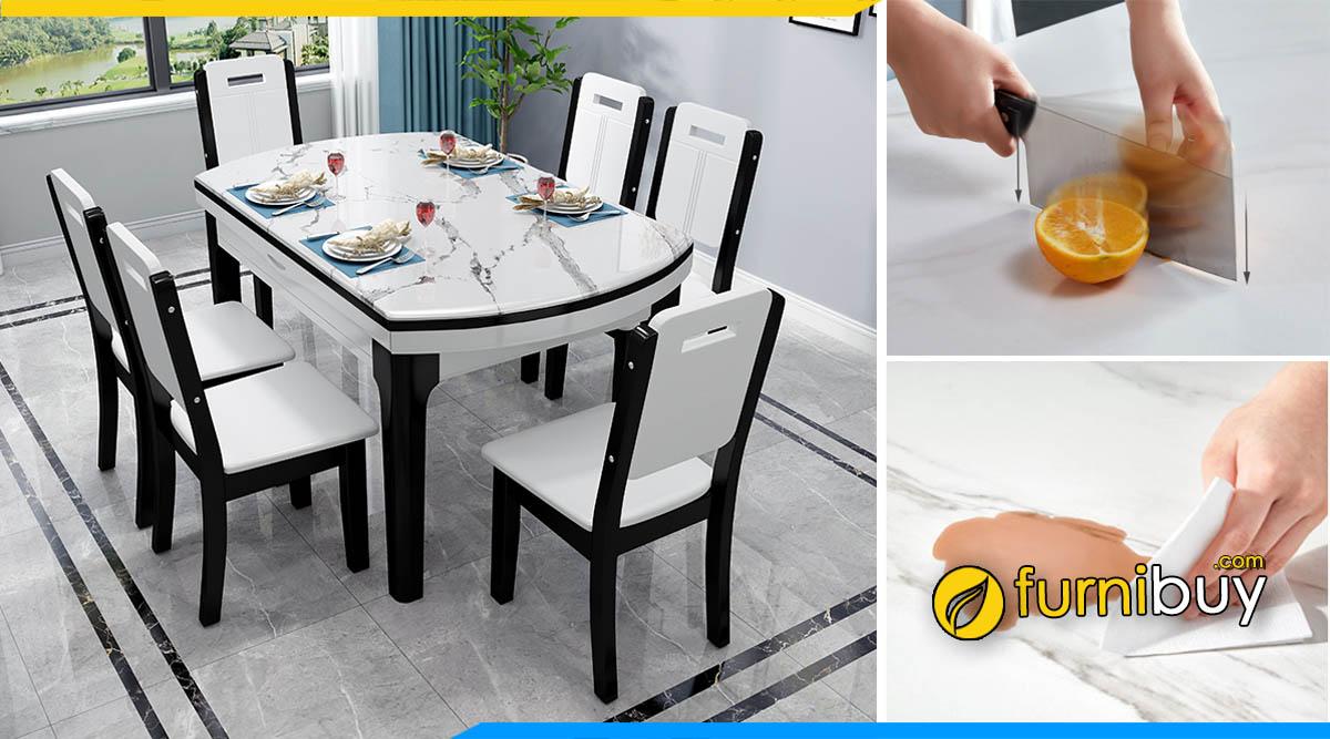 Hình ảnh bàn ăn mặt đá 6 ghế thông minh hình chữ nhật đẹp sang