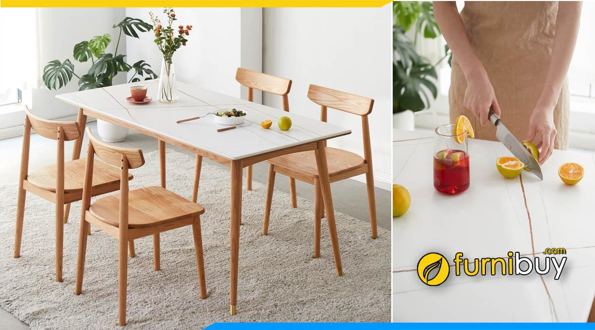 Ảnh mẫu bàn ăn mặt đá chân gỗ cho nhà chung cư