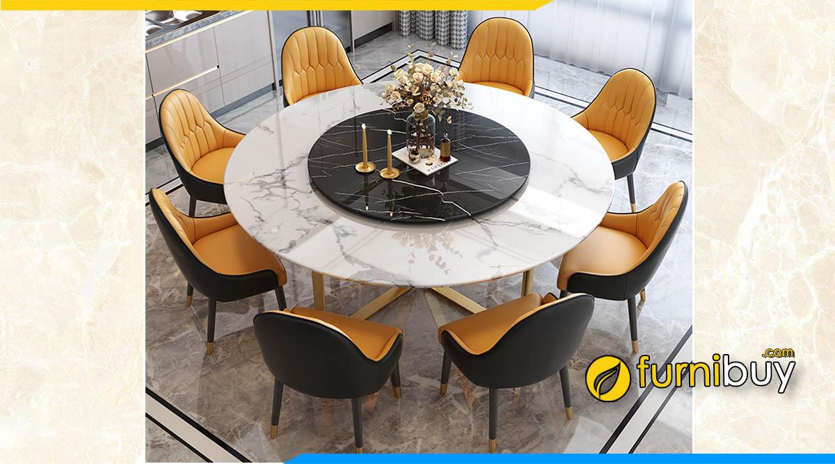 Hình ảnh bộ Bàn ăn mặt đá gốc thạch anh nhân tạo 8 ghế hình tròn đẹp