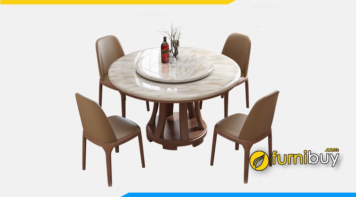 Bộ bàn ghế ăn mặt đá hoa cương chịu nhiệt tốt