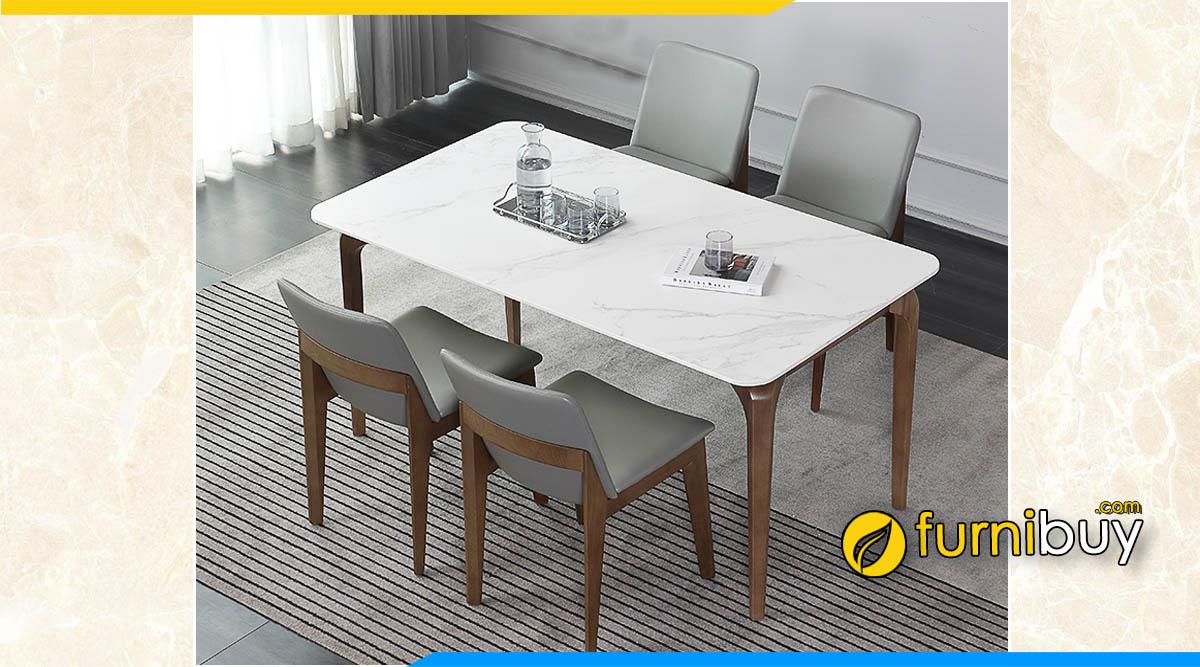Hình ảnh Bộ bàn ăn 4 ghế mặt đá nhân tạo gốc thạch anh màu trắng đẹp