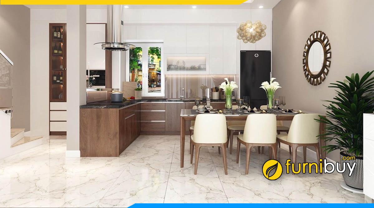 Bộ bàn ăn 6 ghế đẹp trong không gian nội thất bếp hiện đại