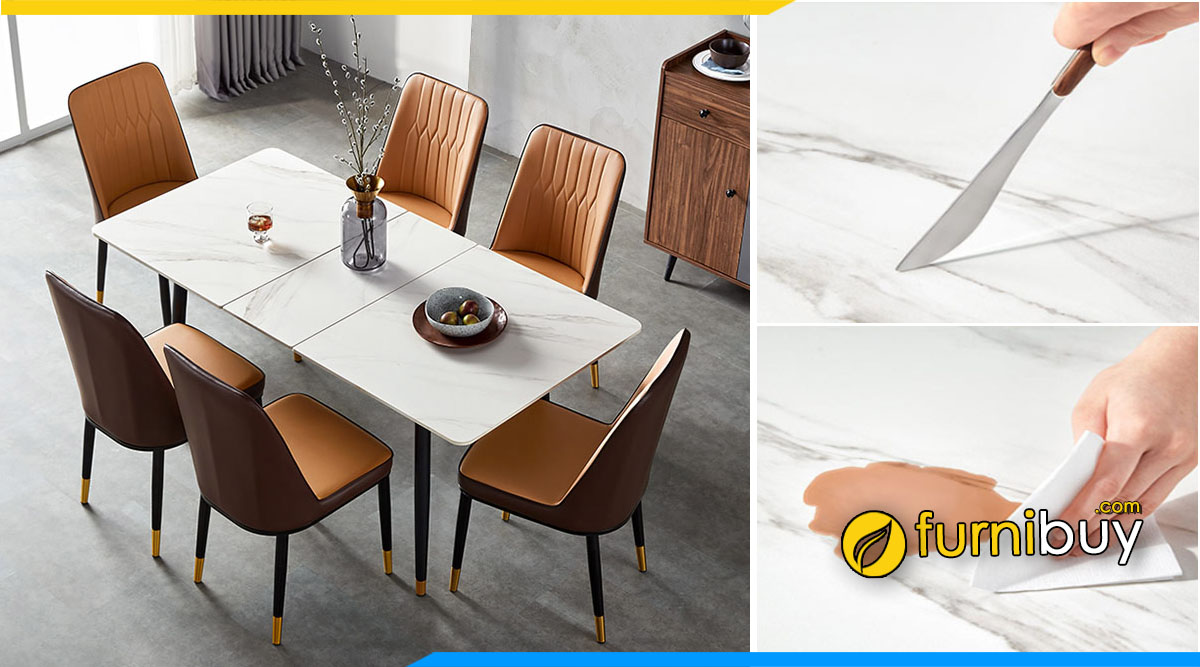 Hình ảnh bộ bàn ăn mặt đá 6 ghế kết hợp bếp điện từ đẹp