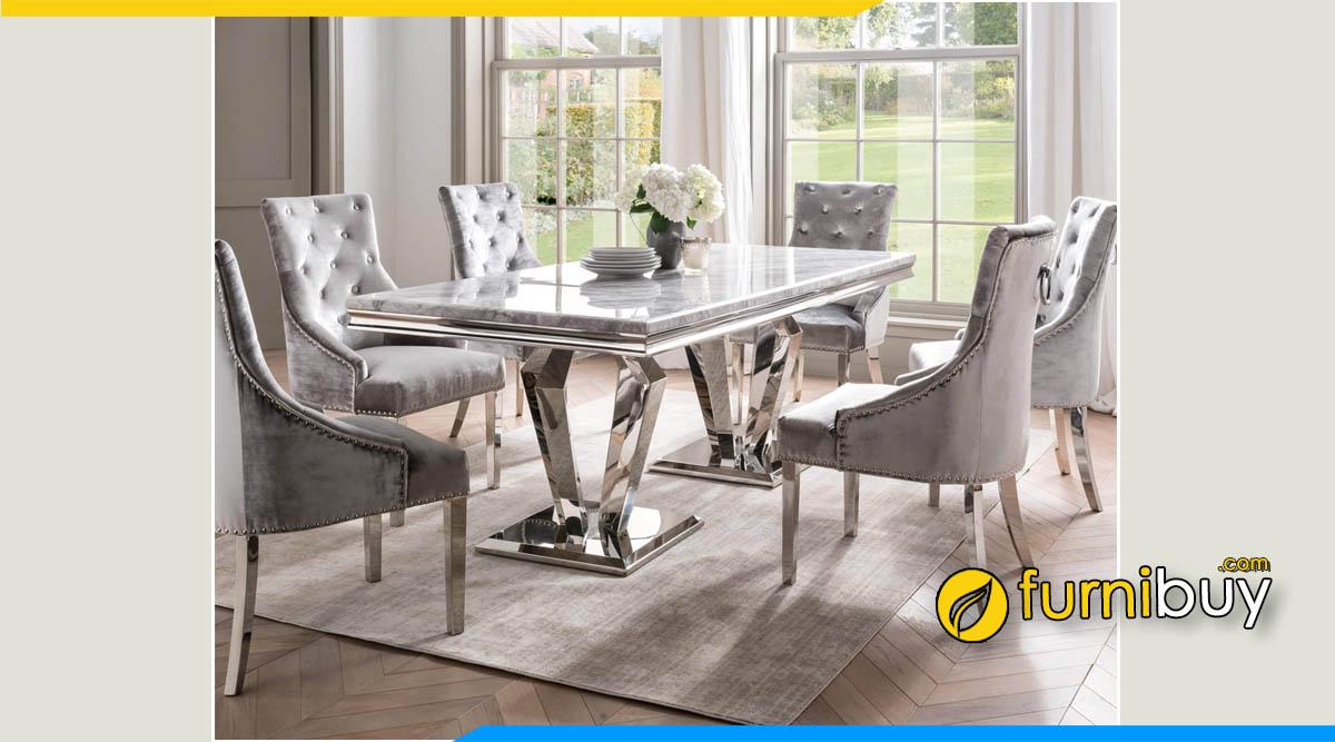 Hình ảnh bộ bàn ghế ăn mặt đá granit tự nhiên cao cấp