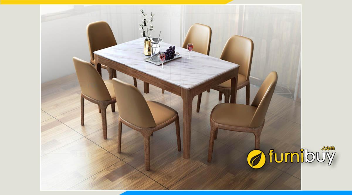 Bộ bàn ghế ăn mặt đá hoa cương độ bền cao