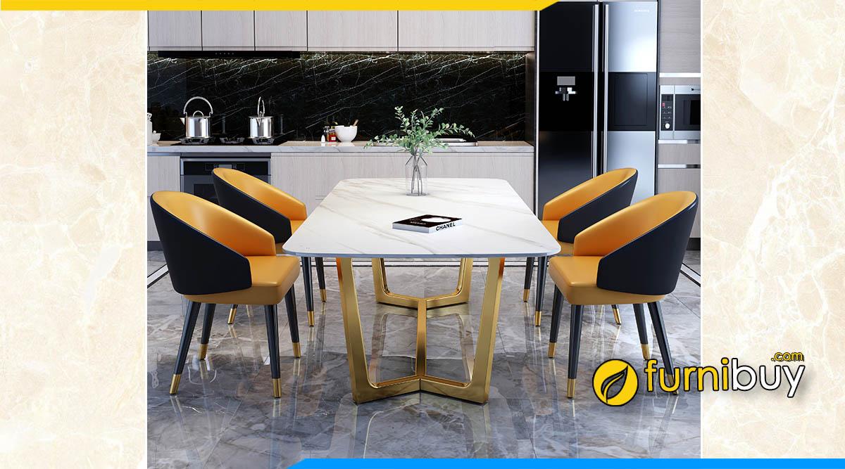 Bộ bàn ăn mặt đá nhân tạo gốc thạch anh đẹp cho không gian bếp sang trọng