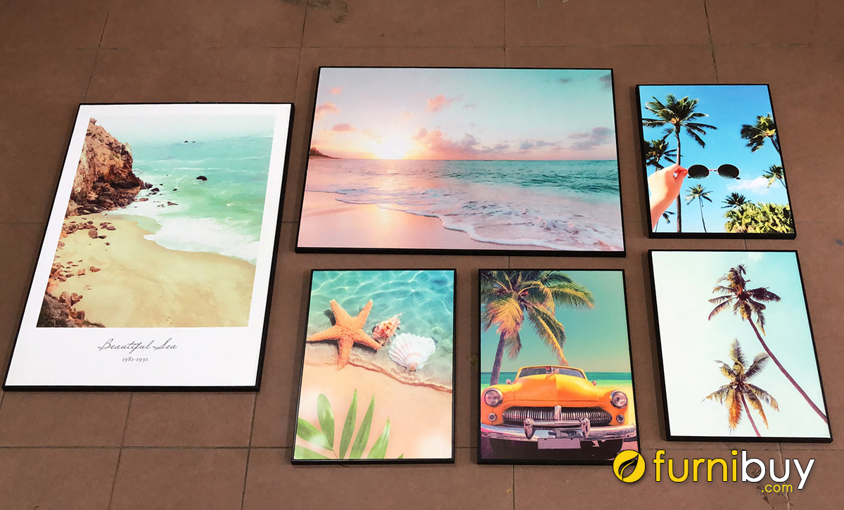Hình ảnh Bộ tranh chủ đề cảnh biển treo tường đẹp