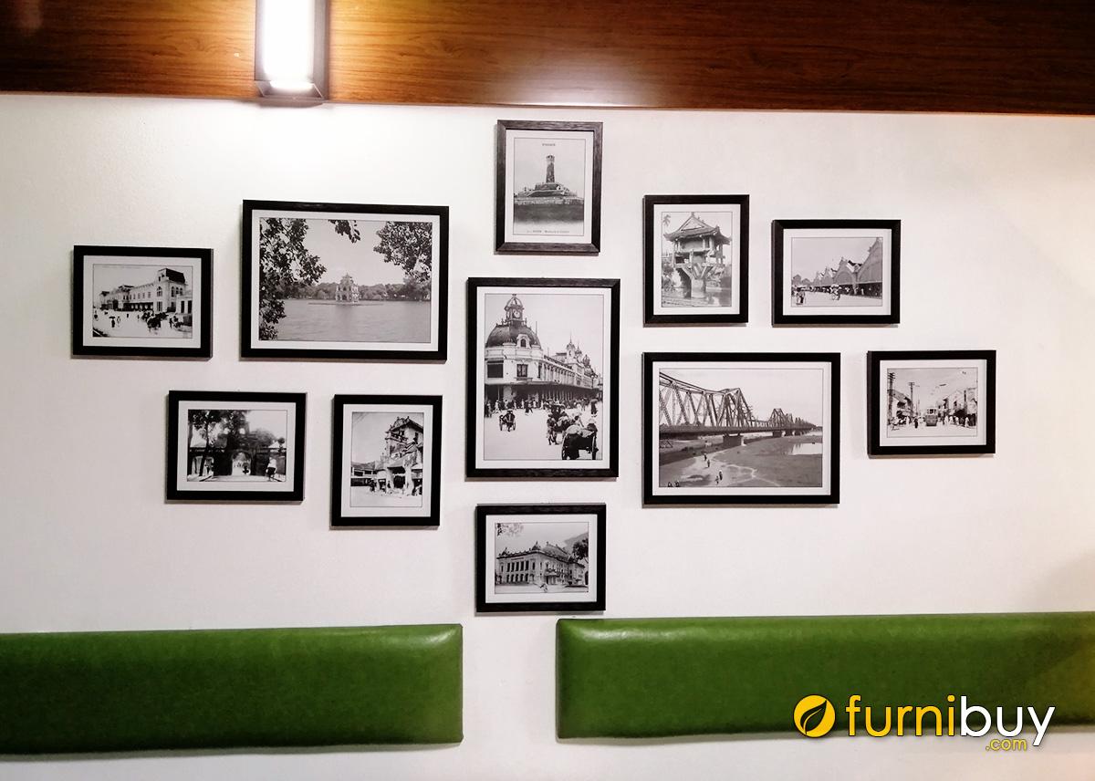 Hình ảnh Bộ tranh đen trắng trang trí tường nhà hàng đẹp sang trọng