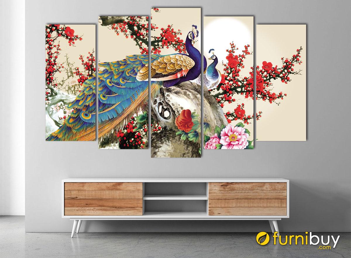 Hình ảnh Bộ tranh hoa đào và đôi chim công treo tường đẹp