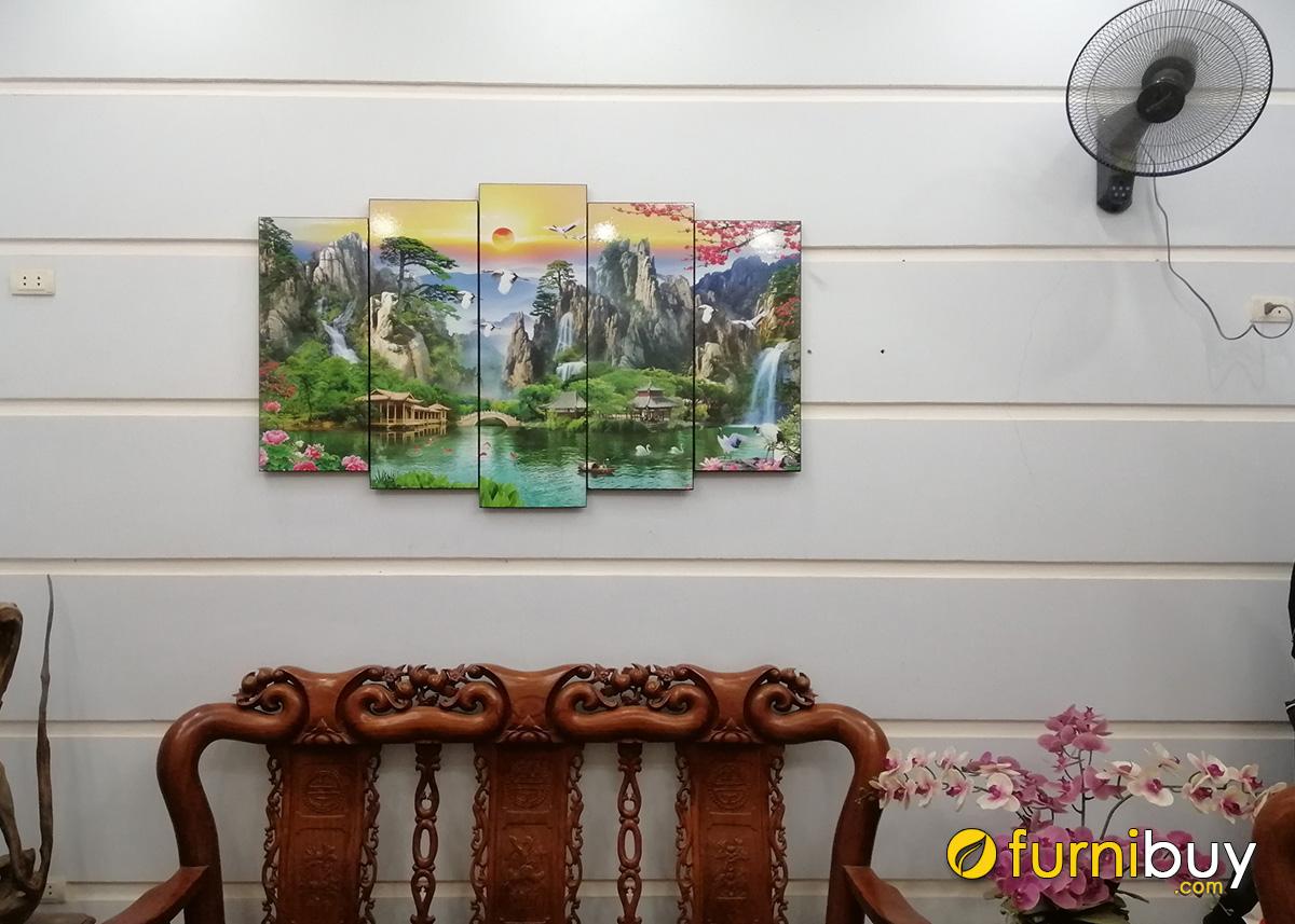 Hình ảnh Bộ tranh phòng khách sơn thủy hữu tình treo tường đẹp ý nghĩa