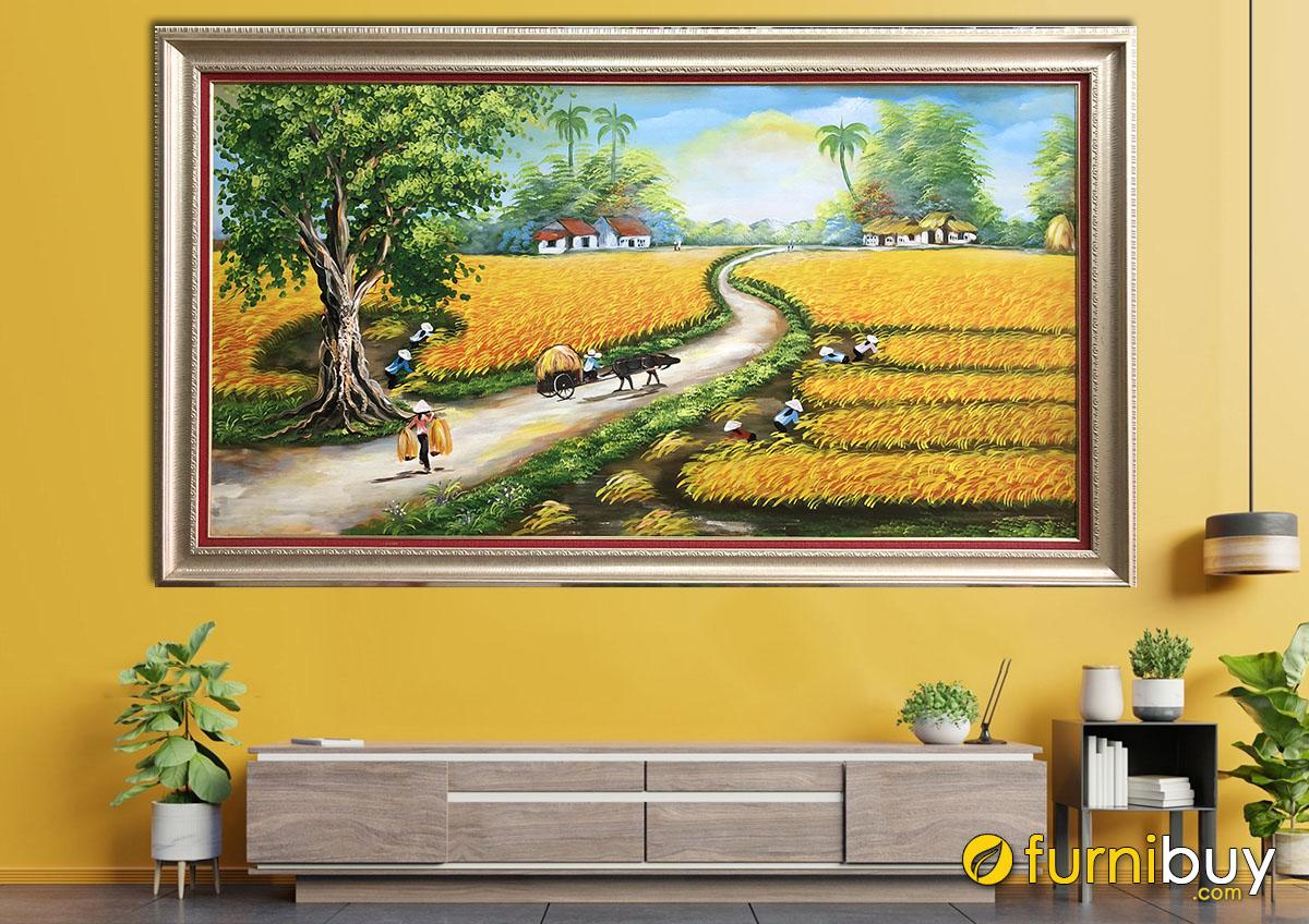 Hình ảnh Bức tranh cánh đồng quê đẹp vẽ sơn dầu
