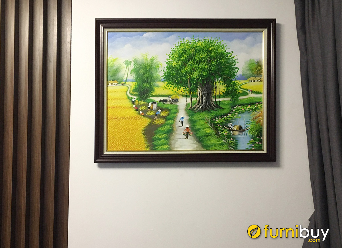 Hình ảnh Bức tranh phong cảnh đồng lúa chín thôn quê treo tường