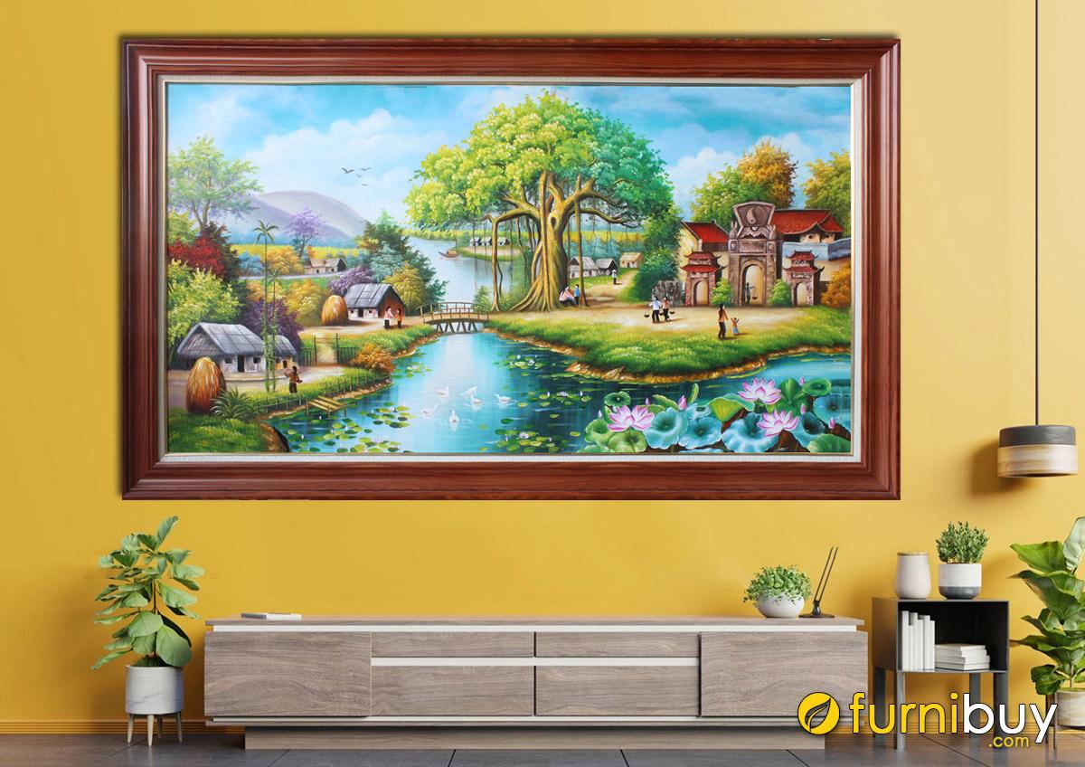 Hình ảnh Bức tranh vẽ làng quê Việt Nam đẹp nên thơ