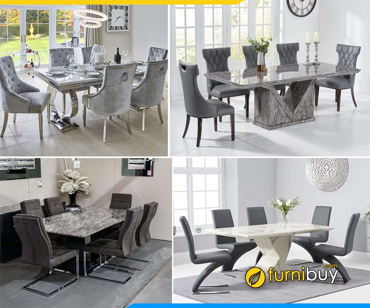 Hình ảnh Các mẫu bàn ghế ăn mặt đá Marble tự nhiên đẹp