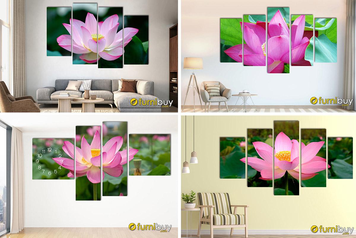 Hình ảnh Các mẫu tranh hoa sen màu hồng đẹp ý nghĩa phong thủy tốt lành