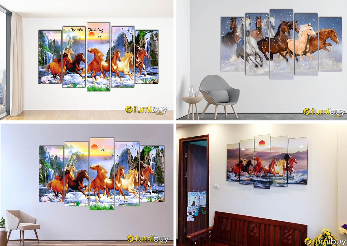Hình ảnh Các mẫu tranh ngựa mã đáo thành công ghép bộ 5 tấm