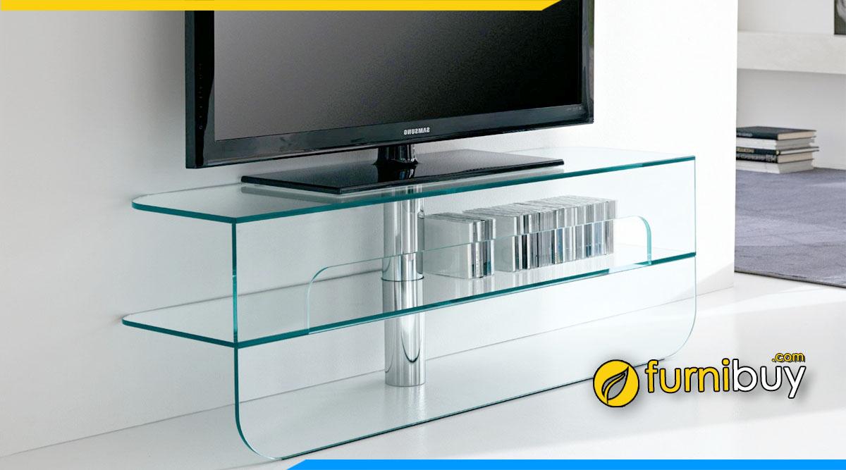 Cách chọn kệ tivi phòng khách bằng kính phù hợp