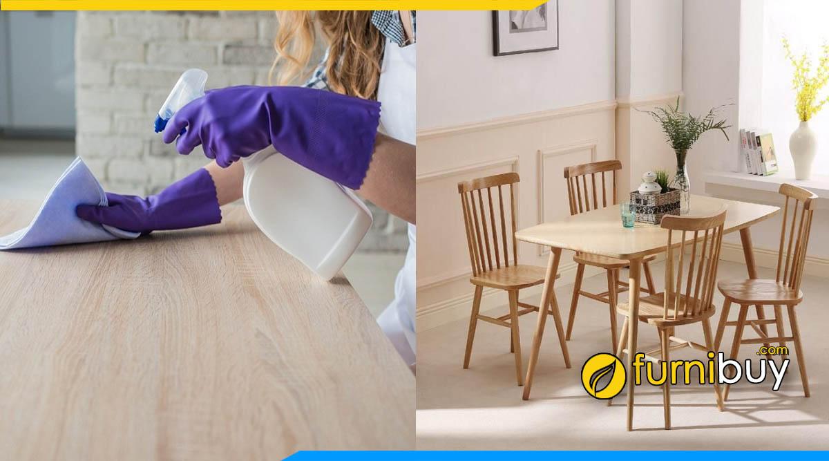 Cách vệ sinh bộ bàn ghế ăn bằng vải mềm