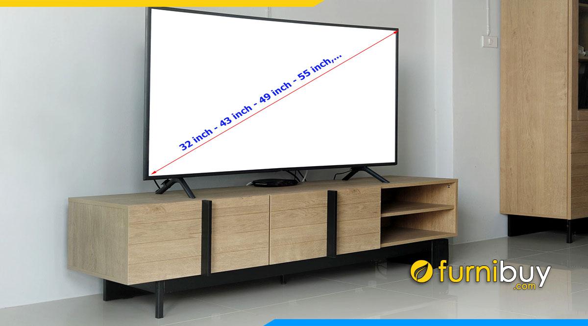 Chọn kích thước kệ tivi đẹp chuẩn theo số inch tv