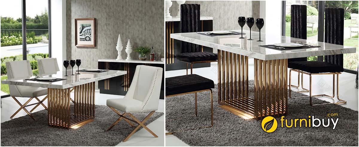 Ghế bàn ăn mặt đá marble tự nhiên