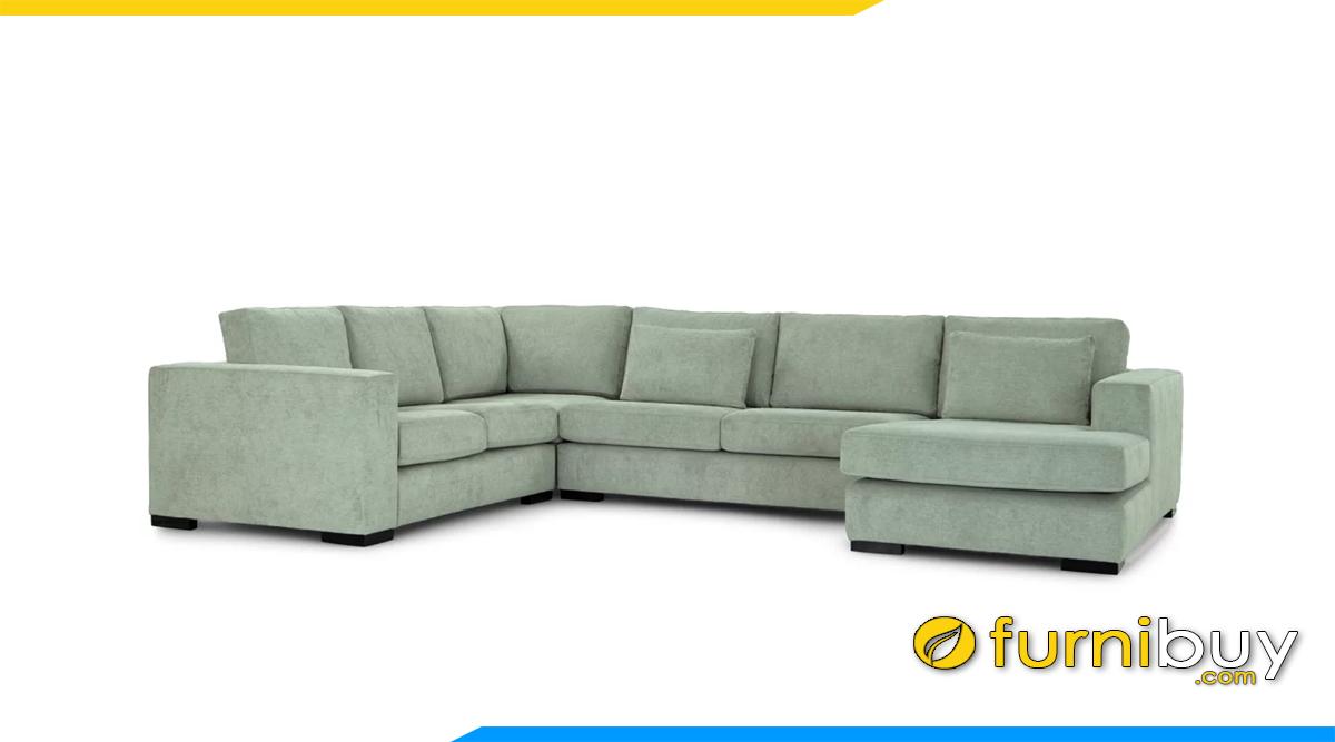 ghe sofa mau xanh pastel dang chu u