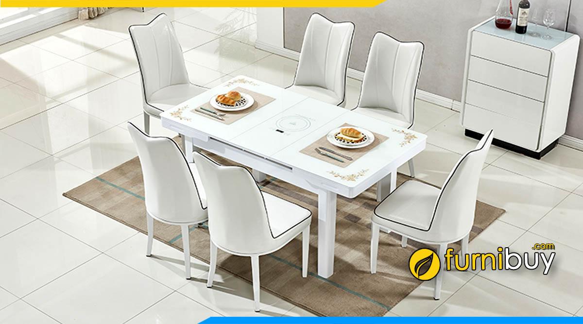 Hình ảnh bộ bàn ghế ăn thông minh 6 chỗ chung cư đẹp màu trắng