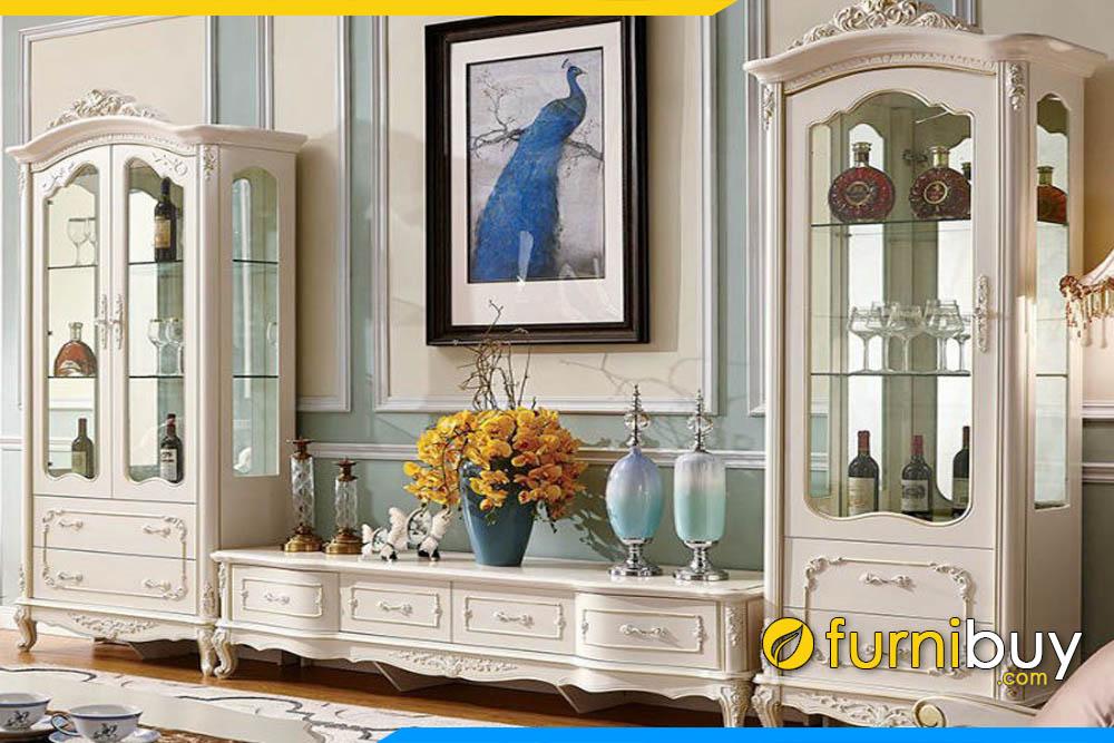 Hình ảnh Kệ tivi kèm tủ rượu tân cổ điển sang trọng