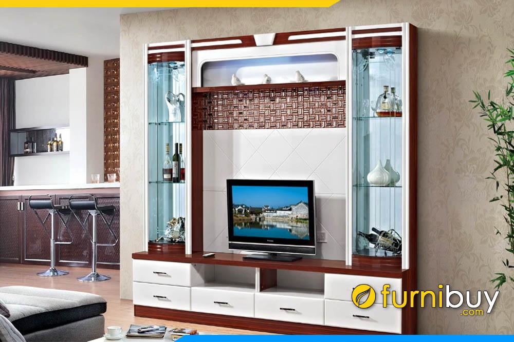 Hình ảnh Kệ tivi kết hợp tủ rượu gỗ kính MDF giá rẻ