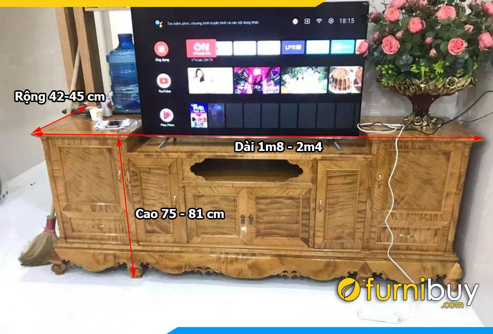 Kích thước kệ tivi gỗ tự nhiên phòng khách chuẩn